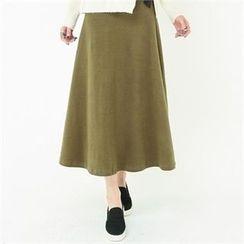 GLAM12 - Fleece-Lined A-Line Long Skirt