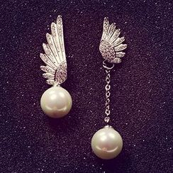 True Glam - Rhinestone Wing Faux-Pearl Non-Matching Earrings