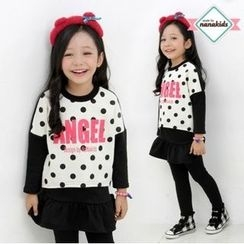 nanakids - Girls Set: Lettering Brushed-Fleece Lined T-Shirt + Inset Skirt Leggings