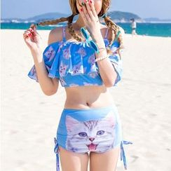 Jumei - Set: Cat Frilled Swim Top + High Waist Swim Bottom