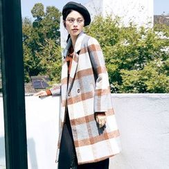 Dimosqisi - Check Long Woolen Coat