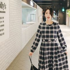 mimi&didi - Pleated Plaid Cotton Long Dress