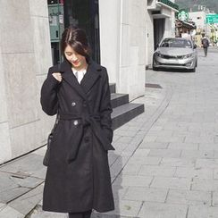 mimi&didi - Double-Breasted Wool Blend Coat with Sash