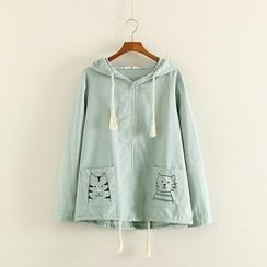 Mushi - Cat Embroidered Hooded Jacket