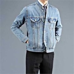 THE COVER - Distressed Dual-Pocket Denim Jacket