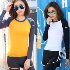 Girasol - Sport Long-Sleeve Color-Block Top
