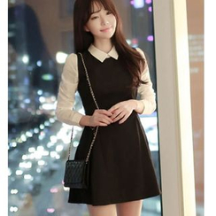 Oaksa - Mock Two Piece Collared Long Sleeve Mini Dress