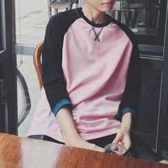 Breeson - 3/4-Sleeve Color Block Sweatshirt