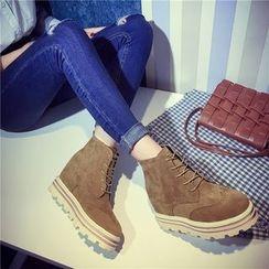 QQ Trend - Platform Hidden Wedge Lace Up Ankle Boots