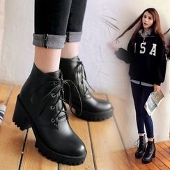 Pastel Pairs - Lace-Up Chunky Heel Platform Short Boots