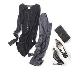 LA SHOP - Ribbed Long-Sleeve Henley