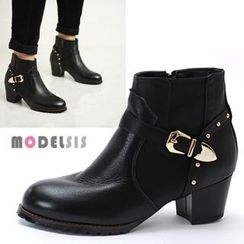 MODELSIS - Genuine Leather Studded Buckled Ankle Boots