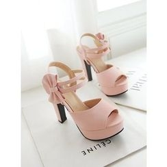 Pastel Pairs - Bow High Heel Platform Sandals