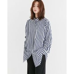 Someday, if - Pocket-Front Striped Oversized Shirt
