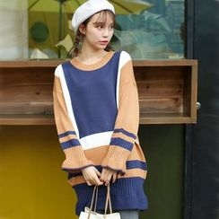 Ivena - Color-Block Long Sweater