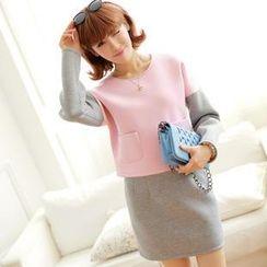 Chuvivi - Set: Color-Block Pullover + Miniskirt