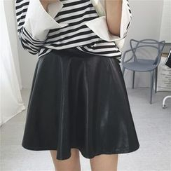 Tiny Times - Faux Leather A-Line Skirt