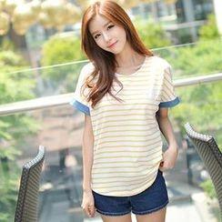 Bongjashop - Denim Panel Stripe T-Shirt