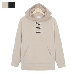 DANGOON - Hooded Toggle-Button Sherpa-Fleece Pullover