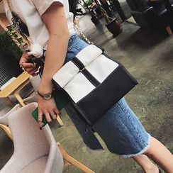 Secret Garden - Canvas Colour Block Shoulder Bag