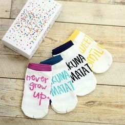 Socka - Pair of 4: Lettering Striped Socks