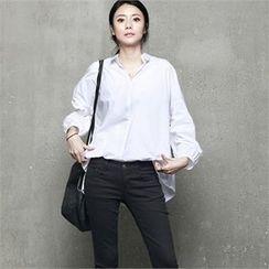 HALUMAYBE - Drop-Shoulder Dip-Back Shirt