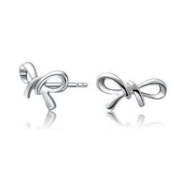 Bling Bling - Bling Bling Platinum Plated 925 Sterling Silver Bow Earrings