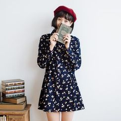 Forest Girl - Long-Sleeve Floral Print Dress