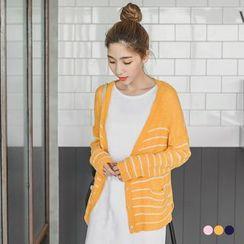 OrangeBear - Striped V-Neck Sheer Cardigan