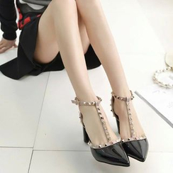 Ginko - Studded T-Strap Chunky-Heel Pumps