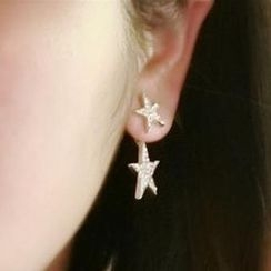 Ticoo - Rhinestone Star Through & Through Earrings