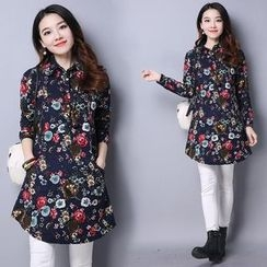 Frockly - Floral Print Half Placket Long Sleeve Tunic