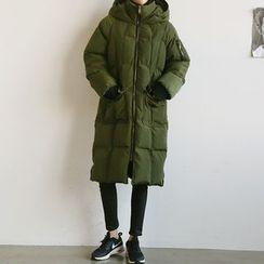 NANING9 - Hood Zip Long Padded Coat