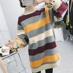 Eva Fashion - Long-Sleeve Striped Woolen Dress