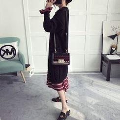 efolin - Cable Knit Long Cardigan