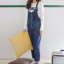 Jolly Club - Zip-Front Tapered Denim Suspender Jeans