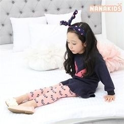 nanakids - Girls Set: Ribbon Printed Sweatshirt + Inset Skirt Leggings