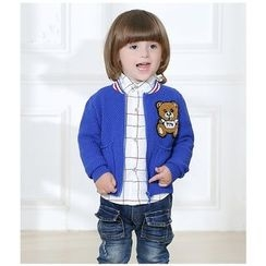 KUBEBI - Kids Set: Bear Knit Jacket + Check Shirt + Jeans