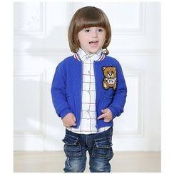 KUBEBI - 童裝套裝: 熊針織夾克 + 格子襯衫 + 牛仔褲