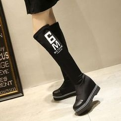JY Shoes - Lettering Hidden Over-the-Knee Boots