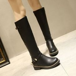 JY Shoes - Faux Leather Low Heel Tall Boots