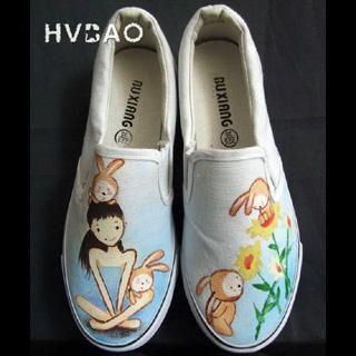 HVBAO - 'Girl & Rabbits' Canvas Slip-Ons