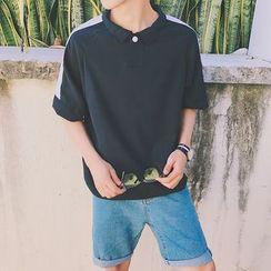JUN.LEE - Contrast Trim Short Sleeve Polo Shirt