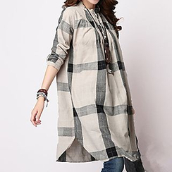 Fashion Street - Long-Sleeve Plaid Linen Dress