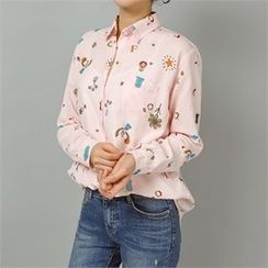 Styleberry - Pocket-Front Printed Shirt