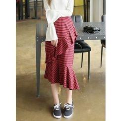 BBAEBBAE - Gingham Frilled Skirt