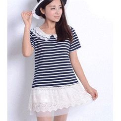 ELI Queen - Short-Sleeve Striped Lace Hem Dress
