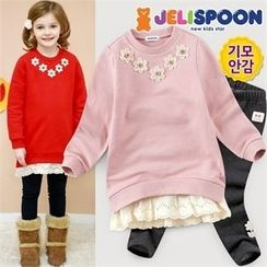 JELISPOON - Girls Set: Flower Appliqué Top + Leggings