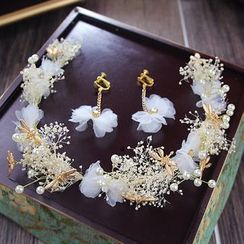 constello - Set: Bridal Faux Pearl Headband + Earrings