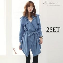 Stylementor - Epaulette-Accent Open-Front Denim Trench Coat